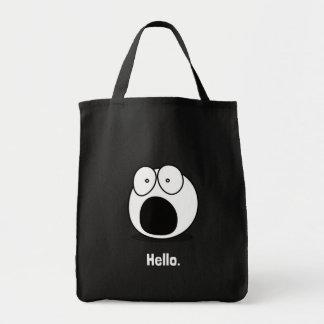 Hola dibujo animado bolsa tela para la compra