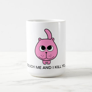 hola dibujo animado rosado de la sonrisa del gatit taza básica blanca