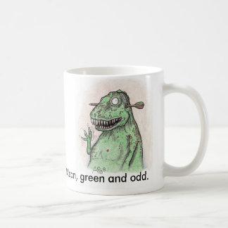 Hola dinosaurio, medio, verde e impar taza básica blanca