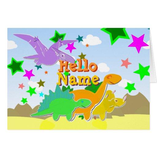 Hola dinosaurios del color su tarjeta de presentac