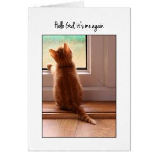 Hola dios, es yo otra vez gatito con verso tarjeta de felicitación