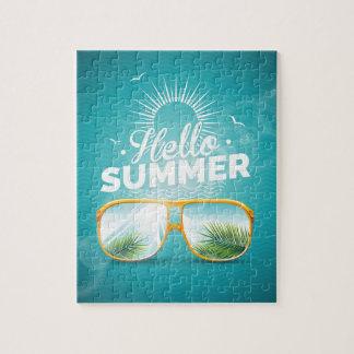 Hola diseño del verano con las gafas de sol puzzle