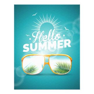 Hola diseño del verano membretes personalizados