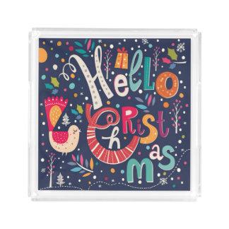 Hola diseño retro colorido del texto del navidad bandeja cuadrada