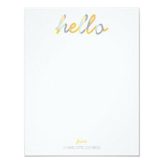 """Hola efectos de escritorio personales pintados invitación 4.25"""" x 5.5"""""""