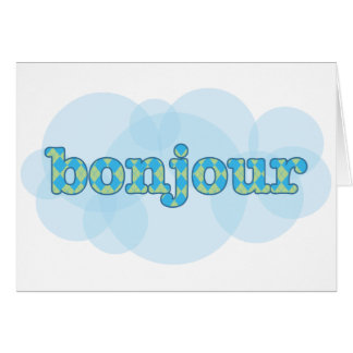 Hola en bonjour francés con el modelo del argyle tarjeta de felicitación