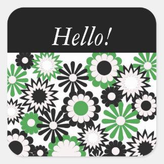 """""""Hola"""" en diseño floral verde, blanco y negro Pegatina Cuadrada"""