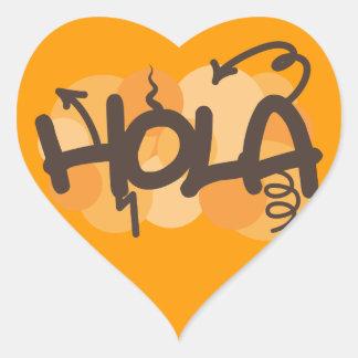 Hola en español calcomanías corazones
