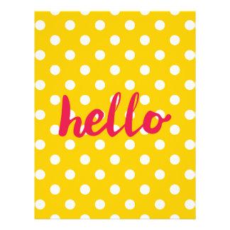 Hola en fondo amarillo en colores pastel de los plantilla de membrete