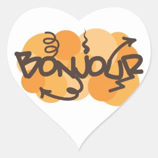 Hola en francés la pintada de Bonjour Calcomanía Corazón