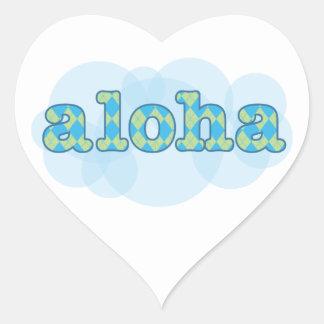 Hola en Hawaiian - hawaiana con el modelo del argy Pegatina De Corazón Personalizadas