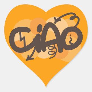 Hola en italiano calcomania corazon