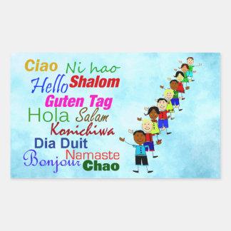 Hola en muchas idiomas pegatinas