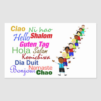 Hola en muchas idiomas pegatina rectangular