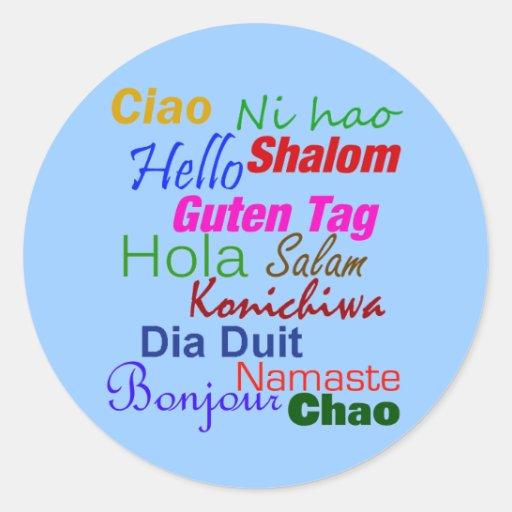 Hola en muchas idiomas pegatina redonda