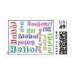 Hola en muchas idiomas y colores sellos
