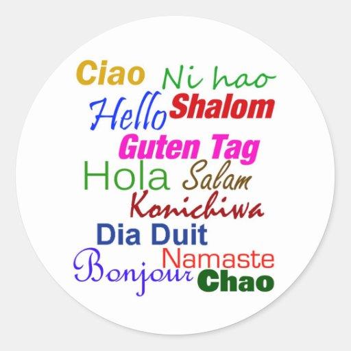 Hola en pegatina de muchas idiomas