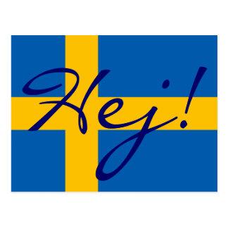 ¡Hola en sueco Hej! Postal sueca de la bandera