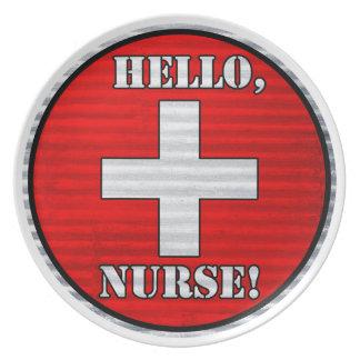 ¡Hola, enfermera! Placa Platos De Comidas