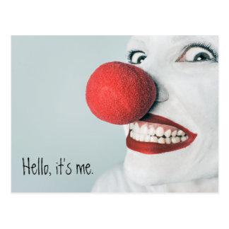 Hola, es yo cara divertida del payaso tarjetas postales