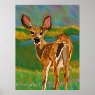 Hola estimada impresión de los ciervos póster