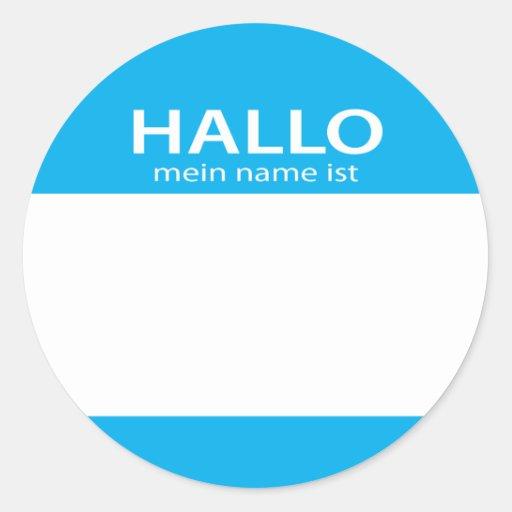 Hola etiqueta conocida conocida del alemán de los