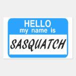 Hola etiqueta conocida Sasquatch