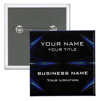 Hola etiqueta futurista técnica del nombre comerci pin cuadrado