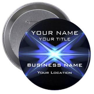 Hola etiqueta futurista técnica del nombre comerci pin redondo de 4 pulgadas