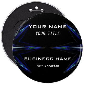 Hola etiqueta futurista técnica del nombre comerci pin redondo de 6 pulgadas