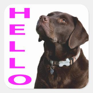 Hola etiqueta negra del pegatina del labrador