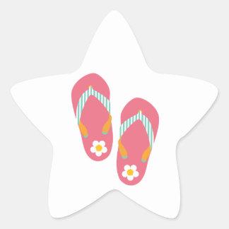 Hola flips-flopes pegatina en forma de estrella