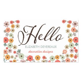 Hola floral elegante tarjetas de visita