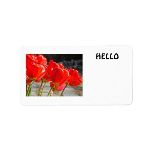 HOLA flores rojas de encargo del tulipán de las Etiqueta De Dirección
