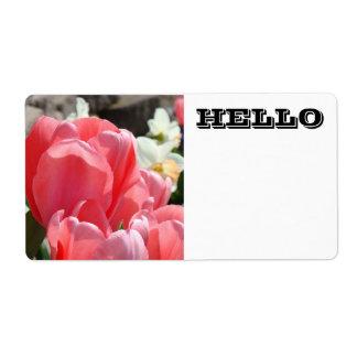 HOLA flores rosadas del tulipán de las etiquetas c Etiquetas De Envío