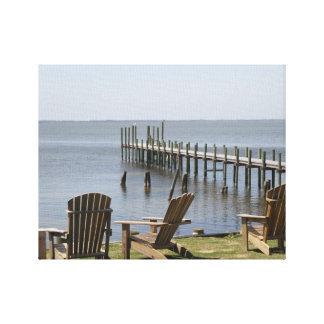 Hola fotografía de Def de la playa, muelle, sillas Lona Envuelta Para Galerias