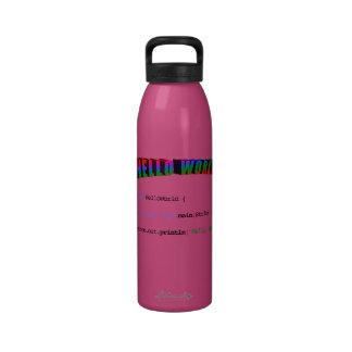 Hola friki Java de saludo del mundo Botella De Agua
