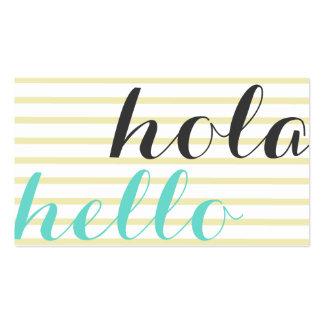 Hola hello, intérprete traductor profesor idiomas tarjetas de visita
