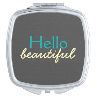 Hola hermoso - adulando a cada cara espejo compacto