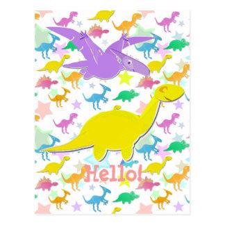 Hola hola postal del dibujo animado de los dinosau