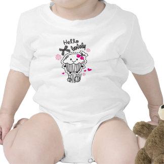 Hola impresión linda preciosa de la magdalena trajes de bebé