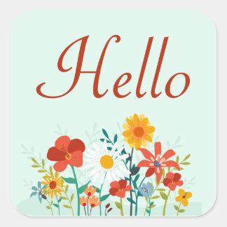 Hola la verde menta floral florece el pegatina/el pegatina cuadrada