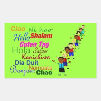 Hola lindo en muchas idiomas pegatina rectangular