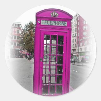 Hola Londres - cabina de teléfono Pegatina Redonda
