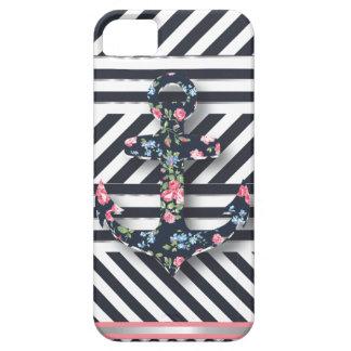 ¡Hola marinero! Ancla floral náutica del vintage r iPhone 5 Carcasas