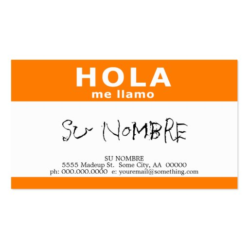 hola me llamo orange business cards