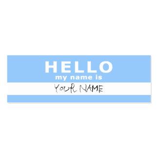 hola mi nombre es: 2 echados a un lado: azul claro tarjetas de visita