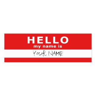 hola mi nombre es: 2 echados a un lado: rojo tarjeta de negocio