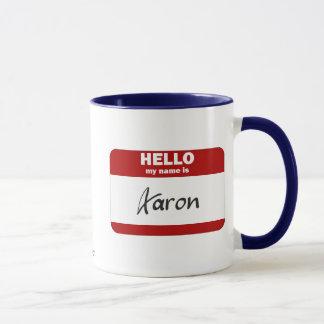 Hola mi nombre es Aaron (rojo) Taza