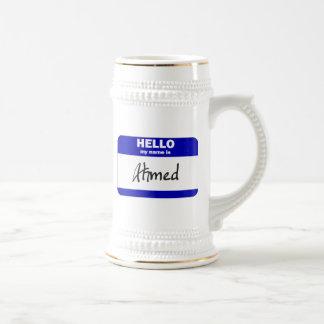 Hola mi nombre es Ahmed (azul) Jarra De Cerveza